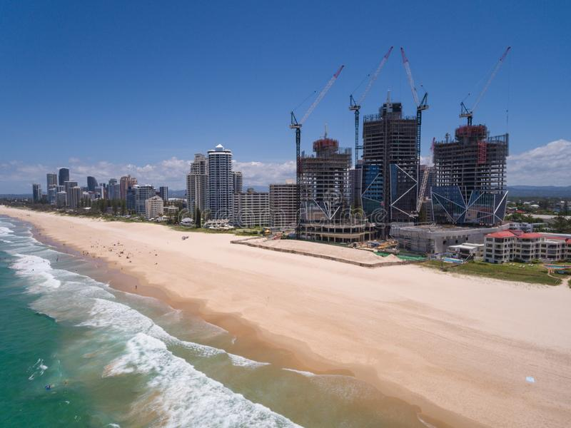 Australian city from above. Aerial view of Australian city in Surfers Paradise,Gold Coast,Queensland,Australia stock images