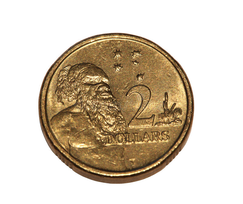 Australian coin. Australian two dollar coin isolated on white royalty free stock images