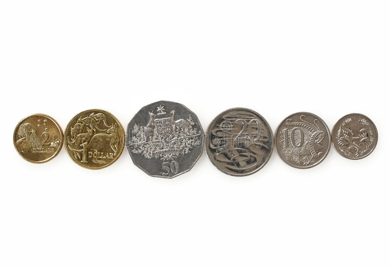 Australian Coins. On white. This is the whole range of  in general circulation stock photography