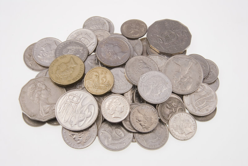 Australian coins. Pile of Australian coins isolated on white background stock images