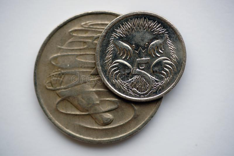 Australian coins 20 and 5 cents. The coins depict the platypus and echidna. Short-beaked Echidna or Spiny Ant Eaters and denomination in 5 cents. And Platypus stock photos