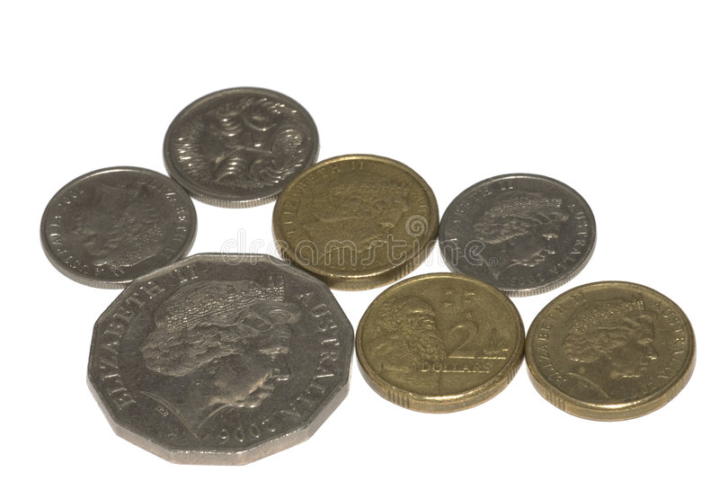 Australian coins isolated. On white stock photography