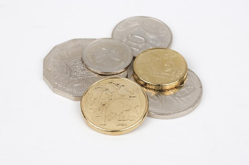 Australian coins. Set of dollars stock photography