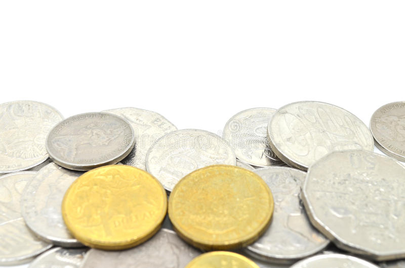 Australian coins. Some Australian money on white background stock photography