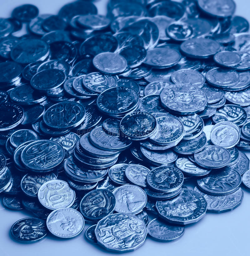 Australian coins Blue stock photography