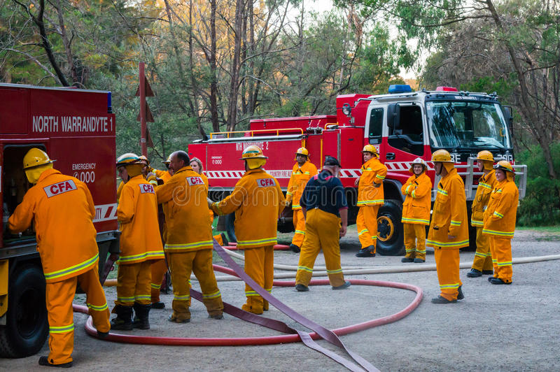 Australian Country Fire Authority fire fighters in Melbourne royalty free stock photography
