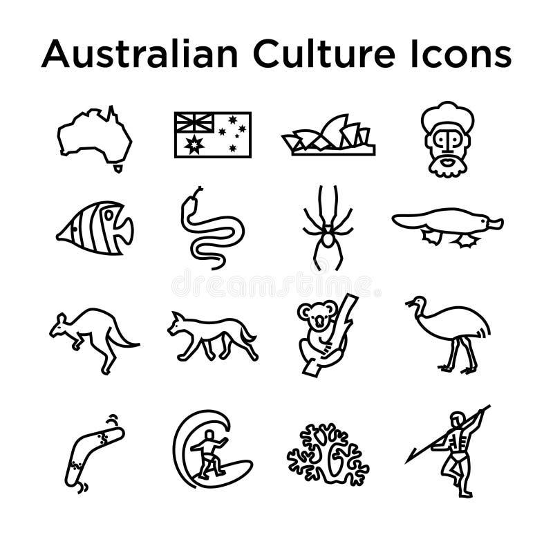 Australian Culture Line Icon Set. National Signs and Landmarks. Australian Culture Icons, Culture Signs of Australia, Traditions of Australia, Australian Life vector illustration