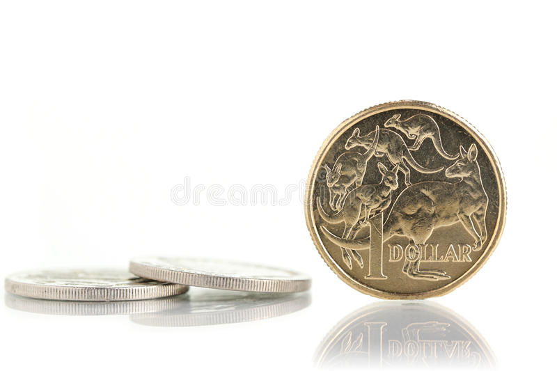 Australian currency. Australian coins, isolated on a white background royalty free stock photo