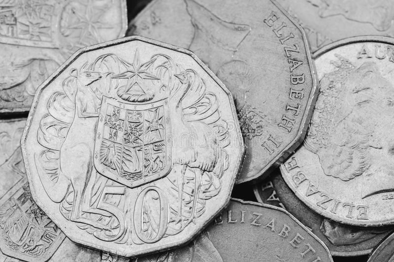 Australian Currency 50 Cents royalty free stock images