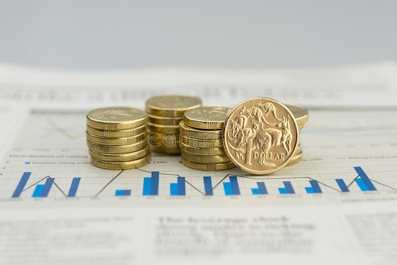 Australian currency. Pile of one and two dollar coins royalty free stock photos