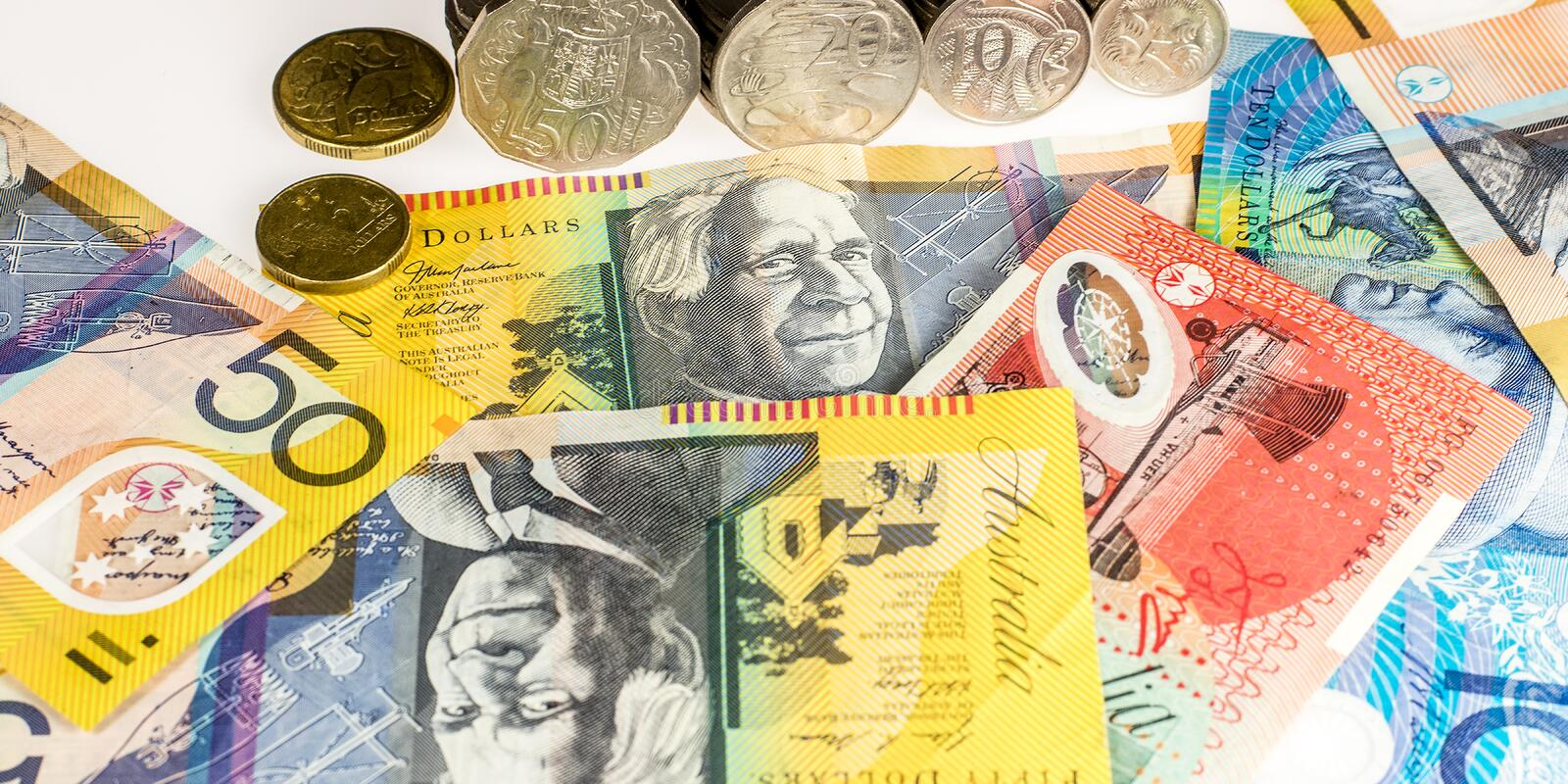 Australian Currency. Used to purchase goods, also known as AUD stock photo