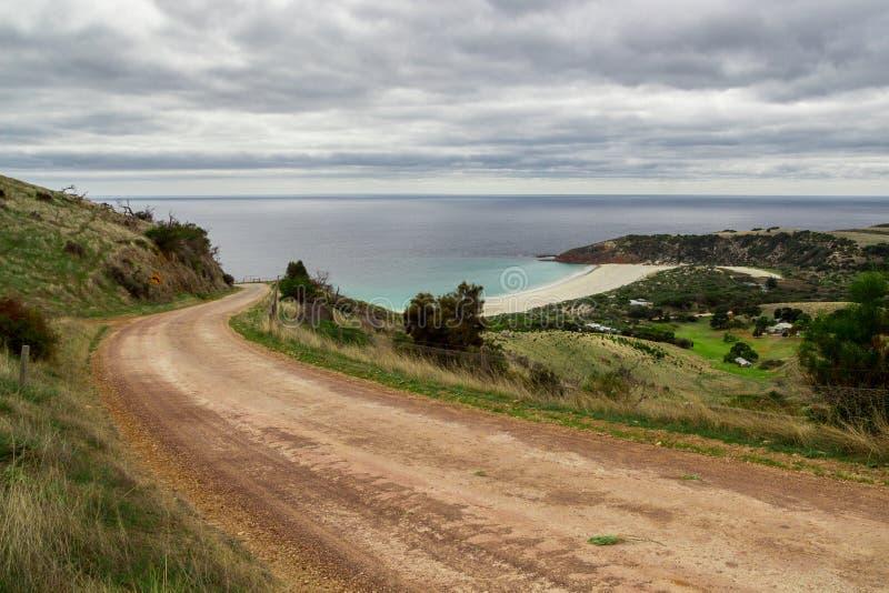 Australian dirt road in Kangaroo Island stock photography