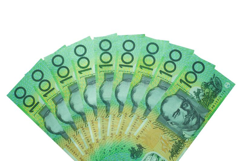 Australian dollar, Australia money 100 dollars banknotes stack on white background. With clipping path royalty free stock photography