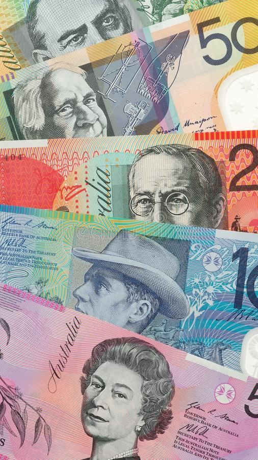 Australian dollar bank notes. Background royalty free stock photos