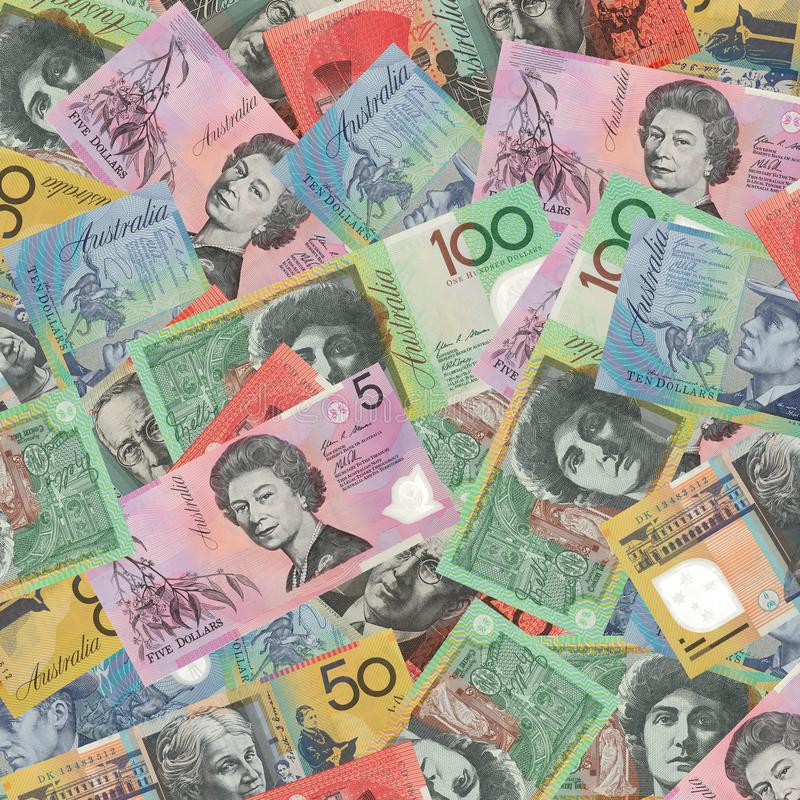 Australian dollar bank notes. Background royalty free stock images