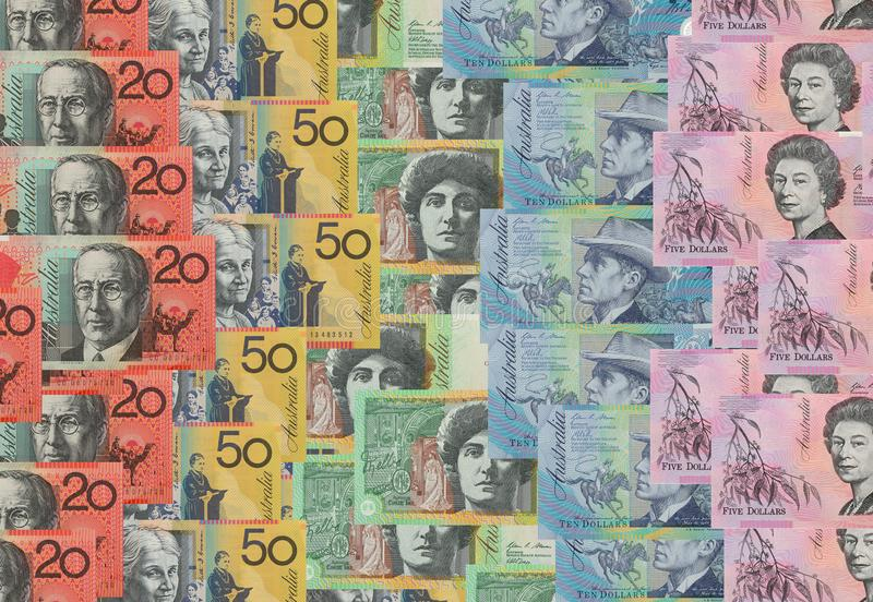 Australian dollar bank notes. Background stock photos