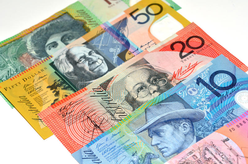 Australian Dollar bank notes. Concept photo of money, banking ,currency and foreign exchange rates. (Isolated on white background royalty free stock photography