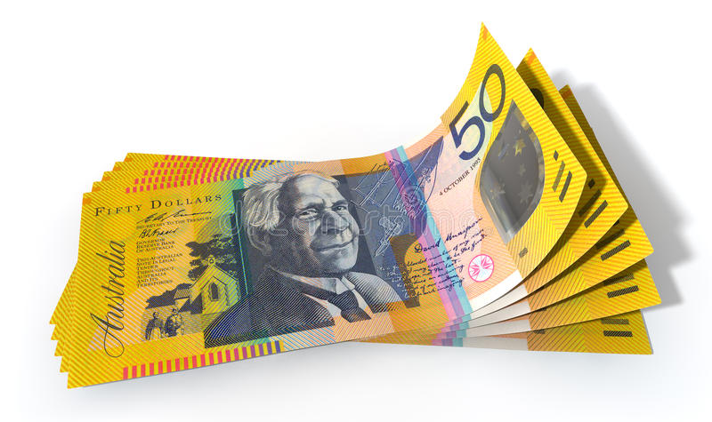 Australian Dollar Bank Notes Spread. A group of five australian dollar banknotes fanned out and curved on an isolated white background stock photography