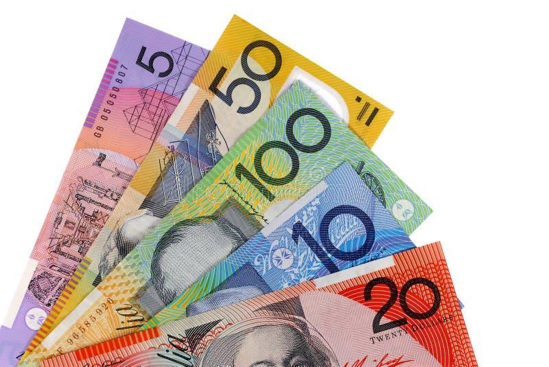 Australia money, various Australian dollar bills isolated on white background royalty free stock photos