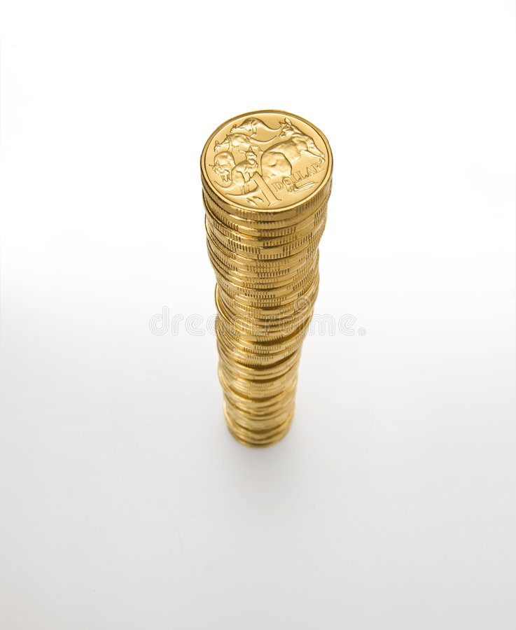 Australian Dollar Coin Stack. A stack of Australian one dollar coins royalty free stock image