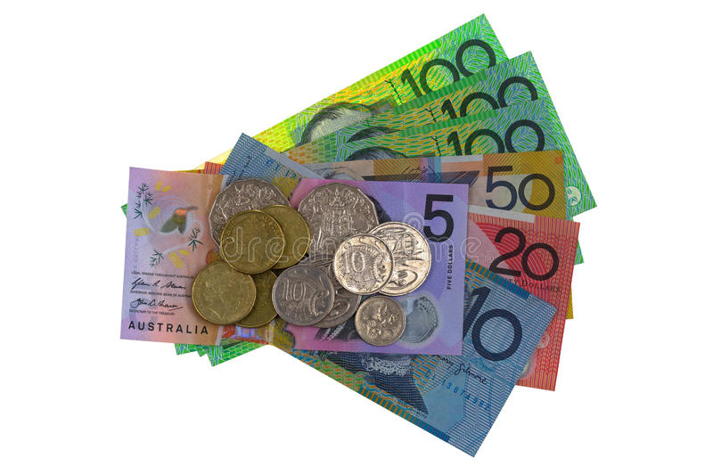 Australian dollar coins and different banknote & x28;AUD& x29; 5 10 20 50 stock image