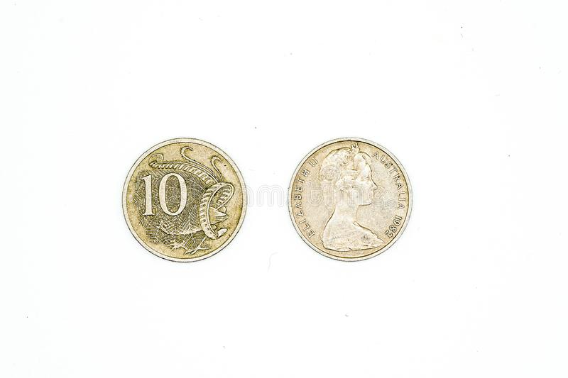 Australian dollar coins isolated on white background. 10 cent. In both sides royalty free stock image