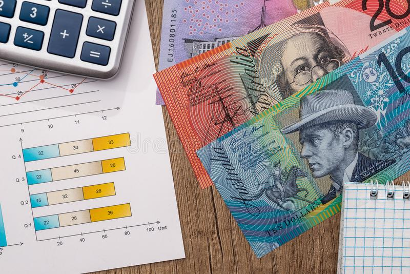 Australian dollar with graph calculator on table. Australian dollar with graph calculator on wooden table royalty free stock photography