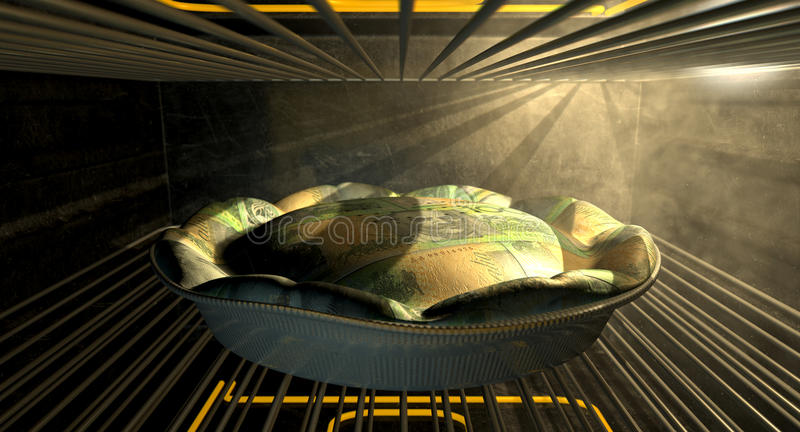 Australian Dollar Money Pie Baking In The Oven. A closeup concept of a money pie made with Australian Dollar bank notes baking in a heated oven royalty free stock image