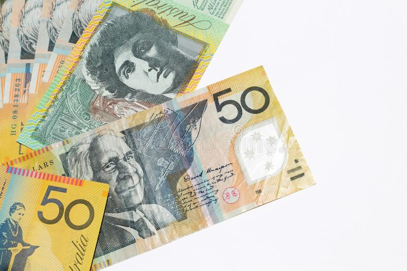 Australian dollar notes. Australian 50 dollar notes on white background royalty free stock photos