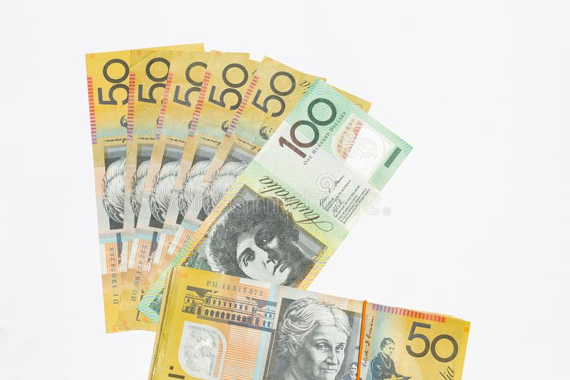 Australian dollar notes. On white background stock photos