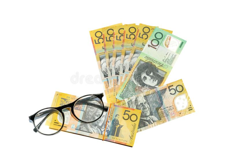 Australian dollar notes. On white background royalty free stock image