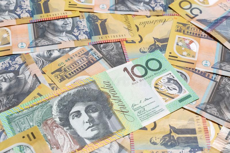 Australian dollar notes. For background stock photos