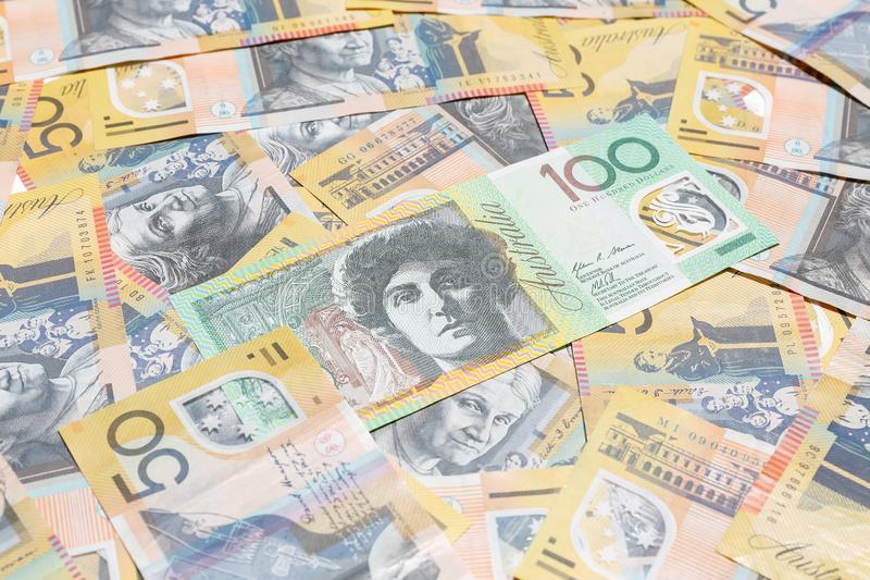 Australian dollar notes. Australian 100 dollar notes for background royalty free stock image