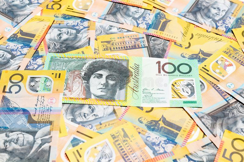 Australian dollar notes. Close up Australian dollar notes for backgound royalty free stock image