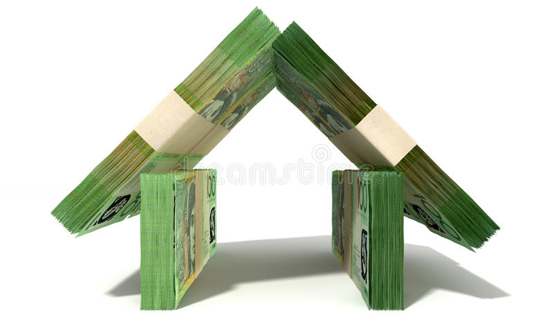 Australian Dollar Notes House Front. Stacks of one hundred australian dollar bank notes assembled in the shape of a house on an isolated background stock photos
