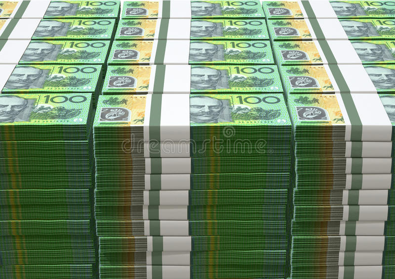 Australian Dollar Notes Pile. A pile of wads of australian dollar banknotes on an isolated background stock image