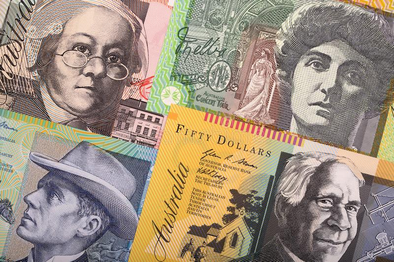 Australian Dollars, a business background. With money stock photo