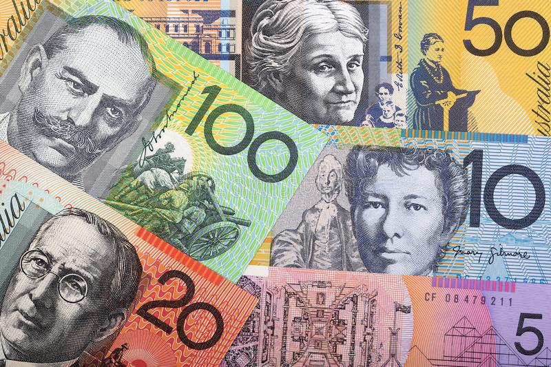 Australian Dollars, a business background. With money royalty free stock images