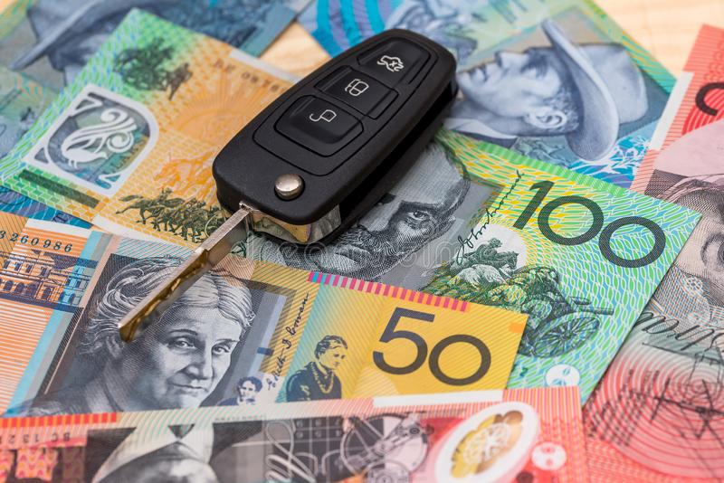 On Australian dollars are the keys to the car.  royalty free stock photography