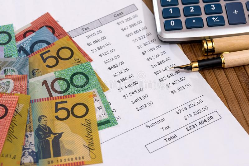 Australian dollars with purchase order and calculator.  stock images