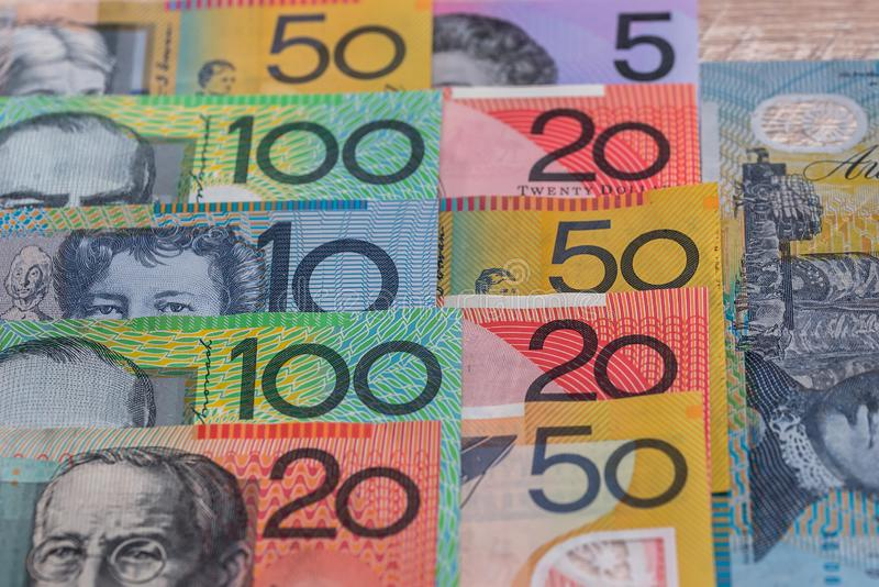 Australian dollars in rows used as background.  stock photo