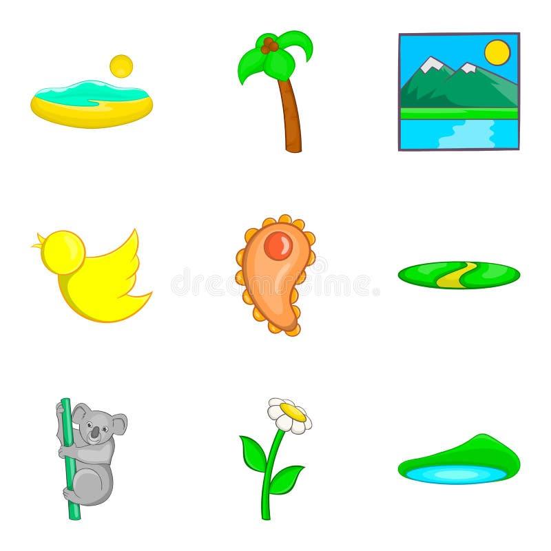 Australian fauna icons set, cartoon style royalty free illustration