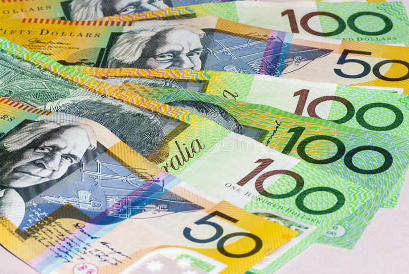 Australian Fifty and One Hundred Dollar bills Fanned royalty free stock photo