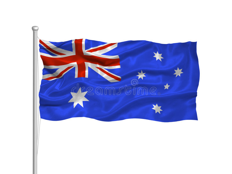 Australian Flag 2. Illustration of waving Australian flag on white royalty free illustration