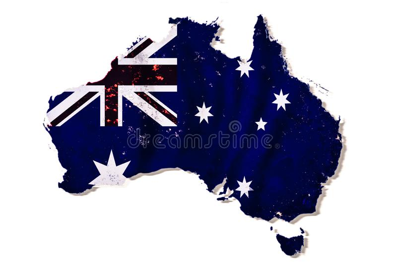 Australian flag on a continent map isolated on white. Background with shadow. Dark blue land with night city lights, collage. Elements of this image furnished stock illustration