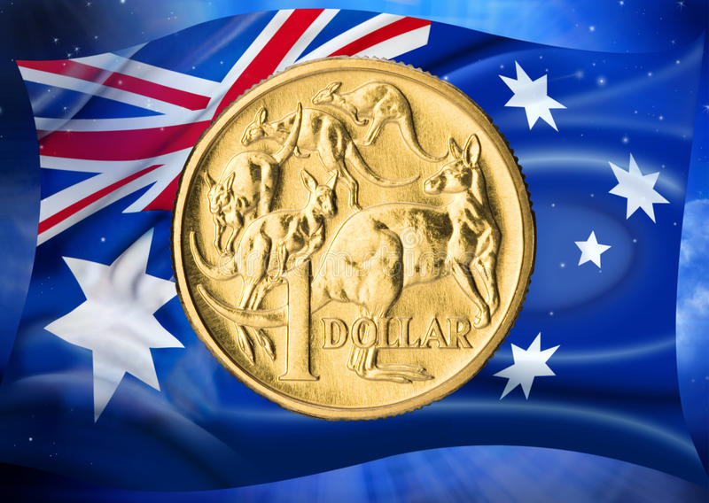 Australian Flag Dollar Coin Money. An Australian one dollar coin with an Australian flag in the background stock photography