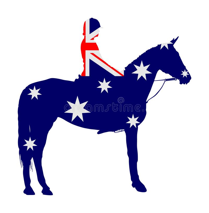 Australian flag over elegant racing horse vector illustration isolated on white. Hippodrome entertainment and gambling sport event. Equestrian riding horse royalty free illustration