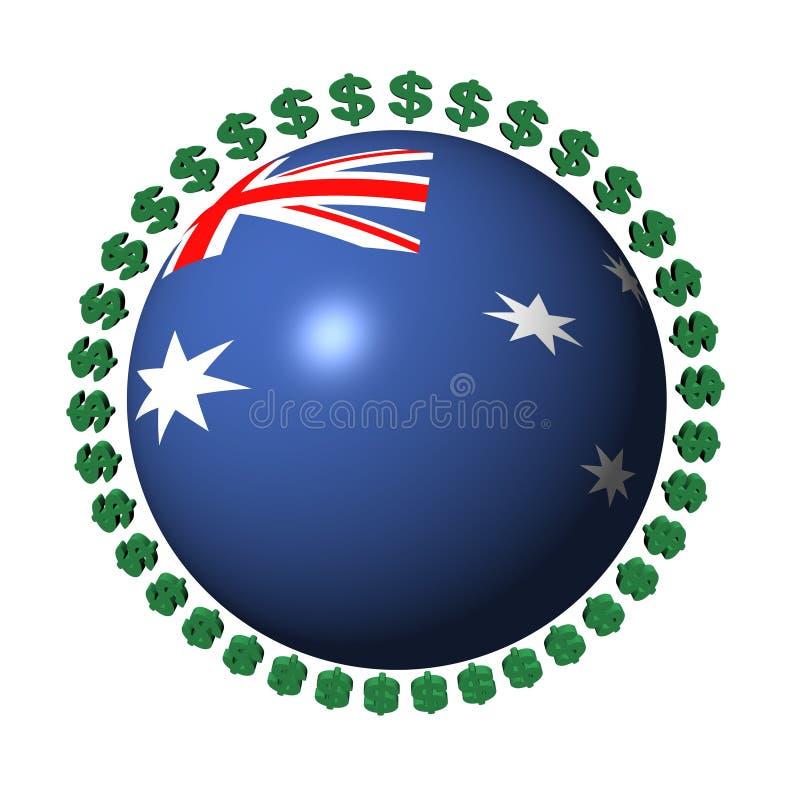 Australian flag sphere with dollar