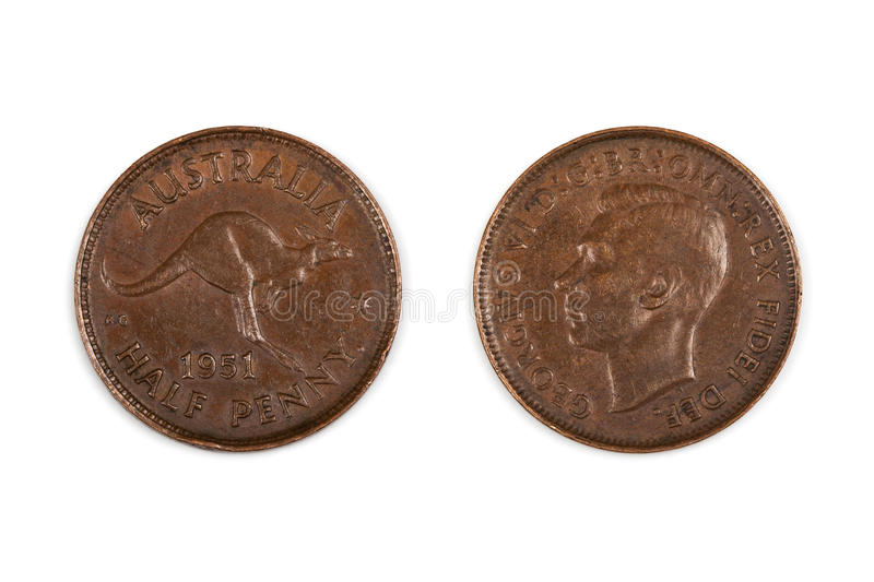 Australian Half Penny Coin Isolated. Old 1951 Australian half penny coin, front and back, isolated on white. Pre-decimal copper stock images