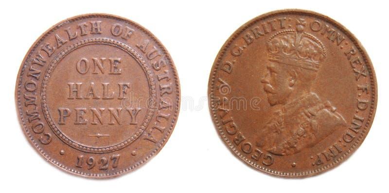 Australian Half Penny pre-decimal 1927. Australian Half Penny 1927 pre-decimal coper coin on isolated white background royalty free stock photo